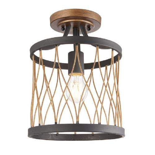 Matt black & rustic bronze effect Semi Flush Light 61497 by Endon